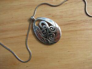 Brighton Mingle Scroll Silver Plate Pendant Necklace & Pouch