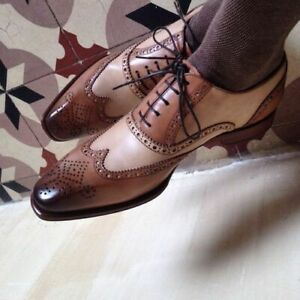 Handmade Mens Two Tone Brown Brogue Wingtip Shoes Oxford Lace Up Formal Men Shoe