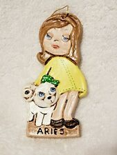 Aries Ram with Girl Ceramic Christmas Ornament