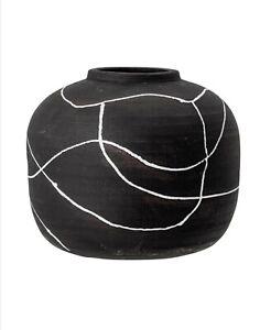 Bloomingville Rustic Nordic Scandi Style Black Niza Vase Shabby Chic Home Decor