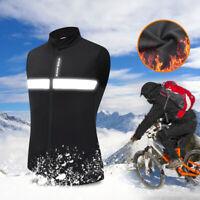 Windproof Fleece Cycling Vest Mens MTB Road Bike Sleeveless Jersey Warm Gilet