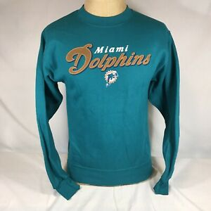 Vintage Miami Dolphins Pullover Sweatshirt NFL Brand Teal Youth Large Mens Small