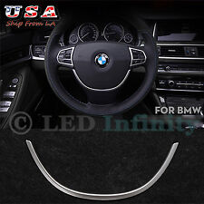 New Style Glossy Chrome Steering Wheel Cover Trim For BMW 5 Series 2011-2015