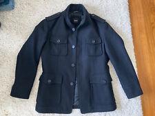 Hugo Boss Men's Colbert Modern Military Jacket Wool Car Coat Black 38 Medium M