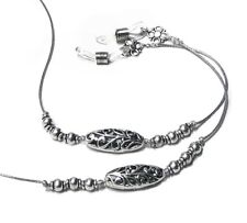 Reading eye glasses spectacle chain holder lanyard Silver Beaded grey cord