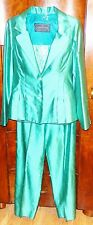THE CUNNINGHAM COLLECTION IRRIDESENT TURQUOISE SILK 3-PIECE PANTSUIT