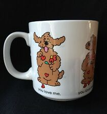 Russ Berrie You Love Me You Love Me Not Coffee Mug with Fluffy Dog and Hearts