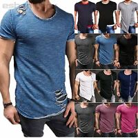 Men Ripped Tops Summer Short Sleeve Slim Fit Muscle Tee Casual Street T Shirt US