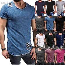 Men Ripped Irregular Tops Summer Short Sleeve Slim Fit Casual Muscle T Shirt Tee