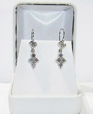 18K WHITE GOLD VS DIAMOND DROP EARRINGS- ESTATE SALE- CLOSE OUT CLEARANCE SALE