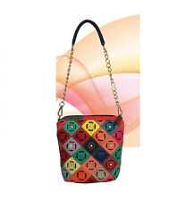 Genuine Leather Multi-Color Purse Handbag Shoulder Small NWT