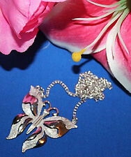 STRIKING CROWN TRIFARI SIGNED BUTTERFLY NECKLACE EXCELLENT WITH NO WEAR-WOW!!!