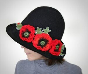 Black modern Witch hat with Flowers red poppies