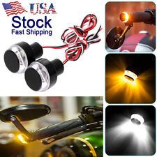 2PCS&Motorcycle Turn Signal LED Light Indicator Blinker Handle Bar End Handlebar