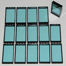 Lego 15 Trans-Light Blue Glass and Black Frames 1 x 4 x 6 Window Doors Parts