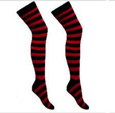 Red/Black Striped Ladies Girls Long Over The Knee Socks