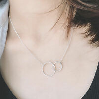 Solid 925 Sterling Silver Eternity Infinity Double Circles Link Pendant Necklace
