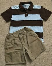 Gap Boys Set Outfit Size 7 Size Small Khaki Shorts Stripe Polo Shirt Short Sleev