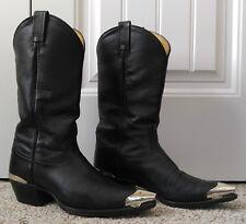 Tony Lama Men's Black Cowboy Boots w/Silver Toe and Heel Caps Size 9D