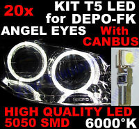 20 AMPOULE T5 LED BLANC 6000K Phares ANGEL EYES Marque DEPO FK  OPEL ASTRA H G F