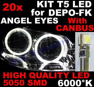 20 AMPOULE T5 a LED SMD BLANC 6000°K Phares ANGEL EYES DEPO FK VW TRANSPORTER T4
