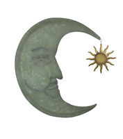 Weathered Verdigris Green Finish Metal Crescent Moon Wall Hanging With Sun Or