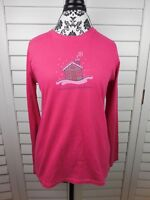 Life is Good Snow Place Like Home T-Shirt Womens Small Pink Top Shirt Ladies