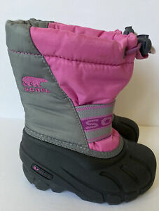 Sorel Boots Baby Toddler Girl's Size 7 Pink Black Pink/Gray Nylon w/Wool Liners