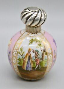 Rare Antique Helena Wolfsohn Dresden Watteau Scene Pink Sterling Perfume Bottle