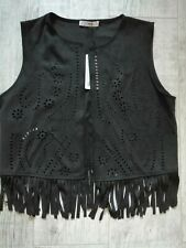 MNG Faux SUEDE 60's Style Cut Out FRINGED Waistcoat LARGE Biker Rock BLACK New
