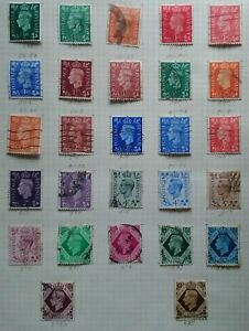 GB KG VI 1937/52 A Page of All Values & Colours to 1s Used From My Collection
