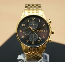 Brand New Mens Hugo Boss Gold Navigator Chronograph Designer Watch HB1513531