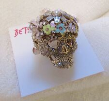 NWT BETSEY JOHNSON GOLD TONE-SKULL-FLOWERS-CRYSTAL ADJUSTABLE RING