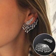 1PC Tassel Angel Wings Rhinestone Crystal Stud Earrings Drop Asymmetric Jewelry