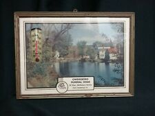 VTG BUBBLE GLASS ADVERTISING SILHOUETTE THERMOMETER FUNERAL DIRECTOR VERMONT IL
