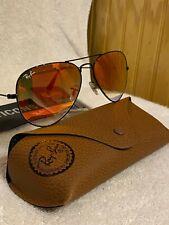 Ray-Ban Aviator Sunglasses RB3025 58mm 002/4W Black Frame Orange Gradient Flash