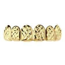 14k Gold Plated Grillz Diamond-Cut Top Six 6 Teeth Hip Hop Mouth Bling Grills