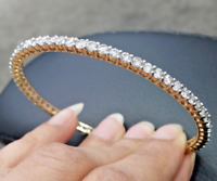 DEAL ! 7.25CT Natural Genuine Diamond Eternity Tennis Bangle Bracelet 18K Gold