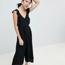 Asos New Look Black Ruffle Strappy Jumpsuit Size 8