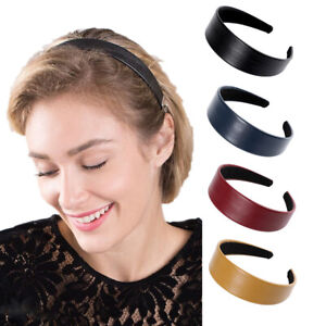 Women's Faux Leather Headband Hairband Wide PU Leather Hair Band Accessories