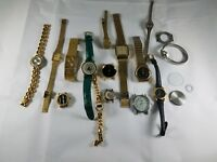 Lot of 15 Watches for Parts or Repair Many with Bands Elgin Le Baron Jordache