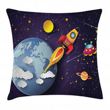 Space Throw Pillow Case Rocket Earth Stars Ufo Square Cushion Cover 16 Inches