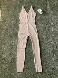 NIKE Yoga Luxe Infinalon Women's Jumpsuit Small CJ5272-699 Barely Rose MSRP $110