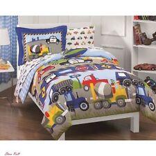 Kids Bedding Sets For Boys Comforter Sheet Bedroom Trucks Tractors Cars 5 Pieces