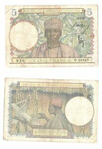 French West Africa 5 Francs 1942 at (VF) Condition Banknote P-25