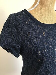 Abercrombie And Fitch Broderie Anglaise Embroidered Navy Top, Size M