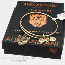 Authentic Alex and Ani Wild Heart (ii) Rafaelian Gold  Charm Bangle