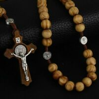 Rosary Necklace For Men Women Wood Prayer Bead Pendant Crucifix Cross Catholic