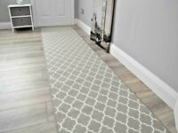 Grey Cream Rubber Back Mat Long Wide Corridor Hallway Rugs Hall Runner Anti Slip