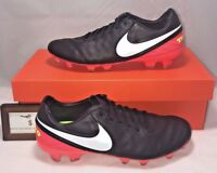 Nike Mens Size 8 Tiempo Legacy Ii Fg Black Crimson Leather Soccer Cleats Legend